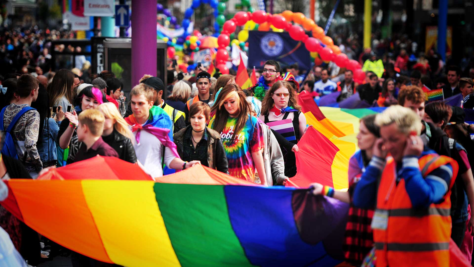 Leicester Pride parade in the city